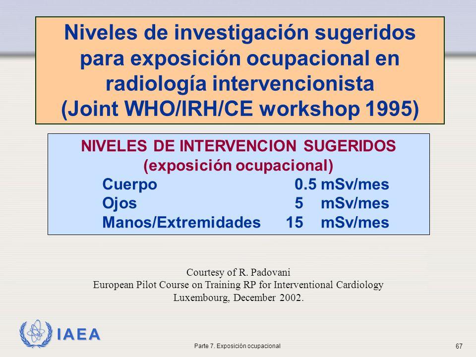 IAEA NIVELES DE INTERVENCION SUGERIDOS (exposición ocupacional) Cuerpo 0.5 mSv/mes Ojos 5 mSv/mes Manos/Extremidades15 mSv/mes Niveles de investigación sugeridos para exposición ocupacional en radiología intervencionista (Joint WHO/IRH/CE workshop 1995) Courtesy of R.