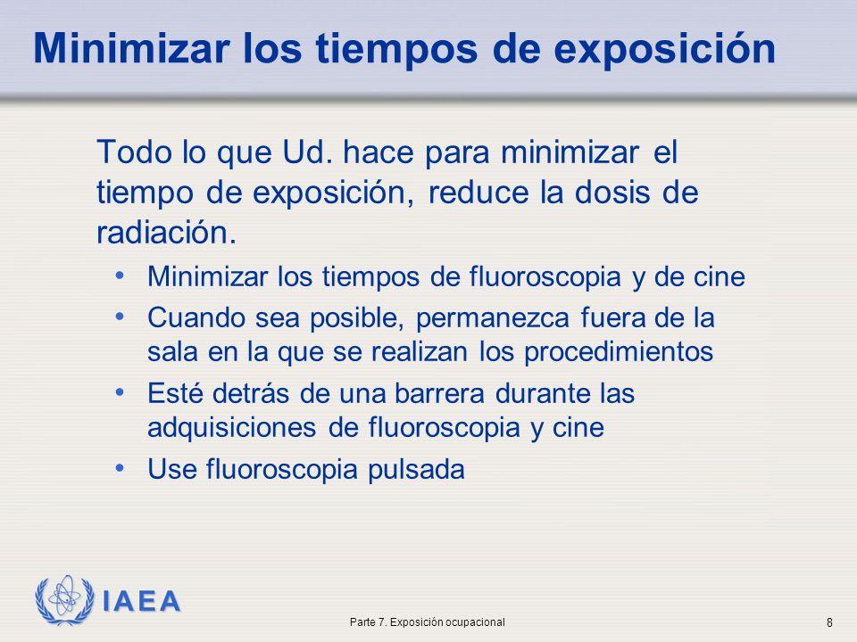 IAEA Minimizar los tiempos de exposición Todo lo que Ud. hace para minimizar el tiempo de exposición, reduce la dosis de radiación. Minimizar los tiem