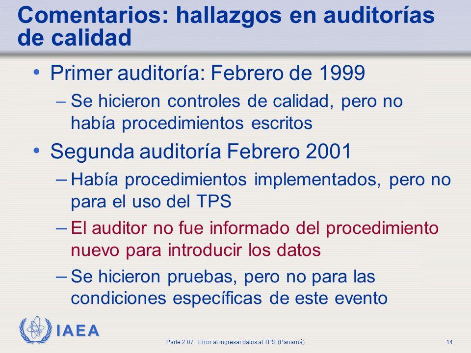 IAEA Parte 2.07. Error al ingresar datos al TPS (Panamá)15 Descripción técnica del problema
