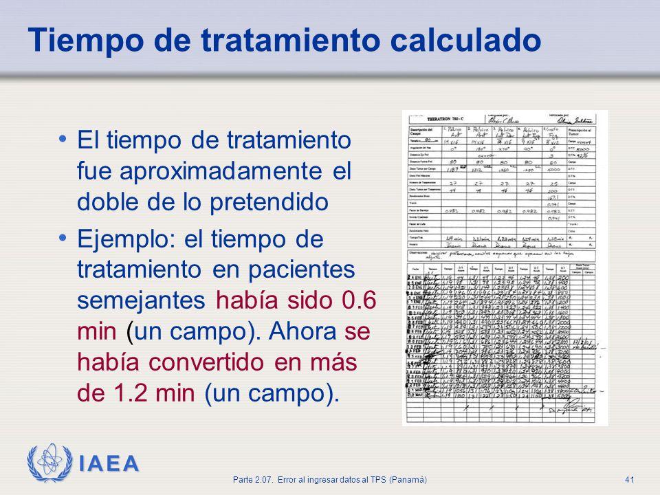 IAEA Parte 2.07. Error al ingresar datos al TPS (Panamá)42 Descubrimiento del problema