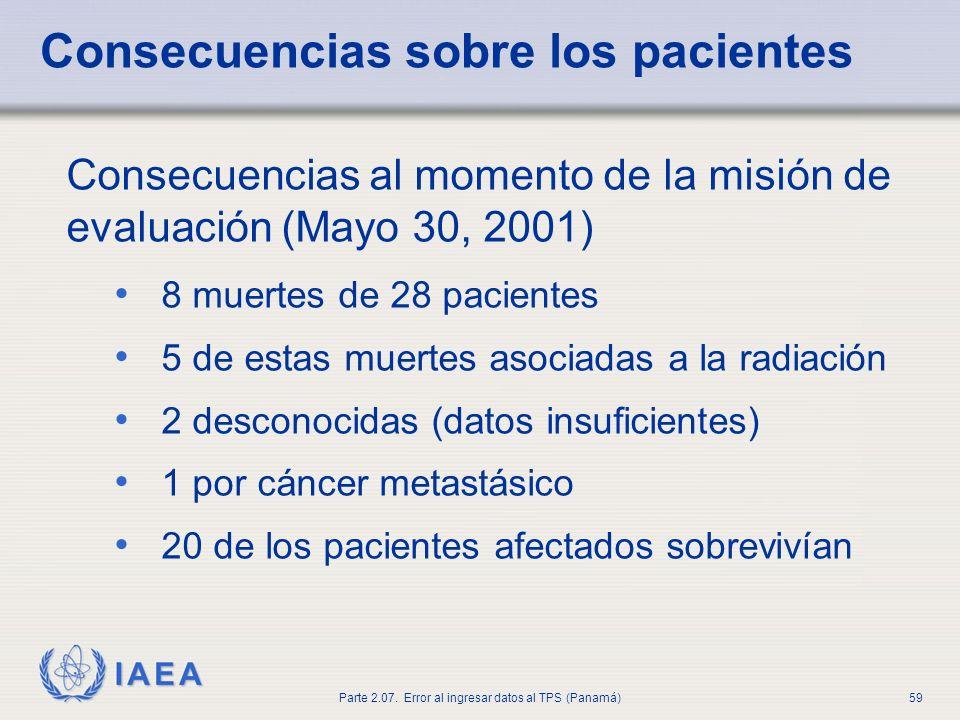 IAEA Parte 2.07. Error al ingresar datos al TPS (Panamá)60 Lecciones y recomendaciones