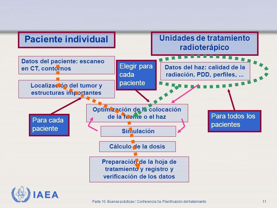 IAEA Parte 10. Buenas prácticas / Conferencia 3a. Planificación del tratamiento11 Paciente individual Unidades de tratamiento radioterápico Datos del