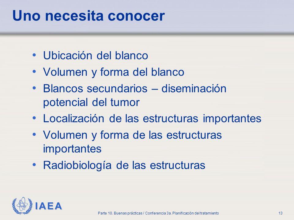 IAEA Parte 10. Buenas prácticas / Conferencia 3a. Planificación del tratamiento13 Uno necesita conocer Ubicación del blanco Volumen y forma del blanco