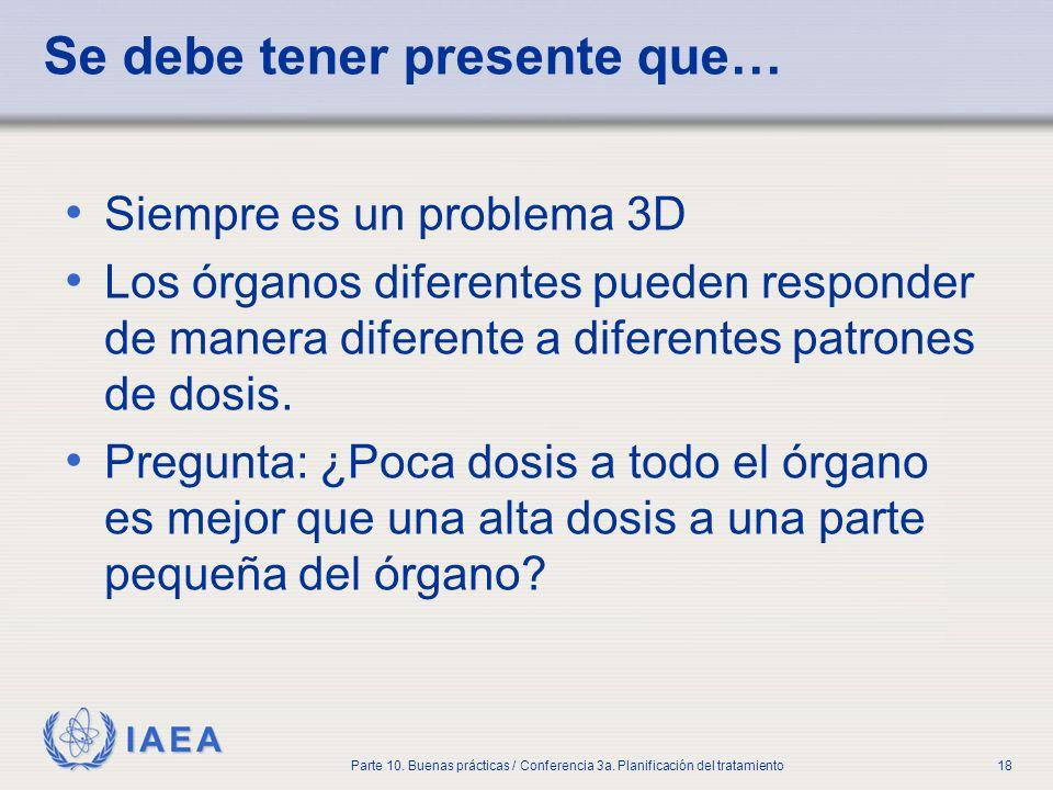 IAEA Parte 10. Buenas prácticas / Conferencia 3a. Planificación del tratamiento18 Se debe tener presente que… Siempre es un problema 3D Los órganos di