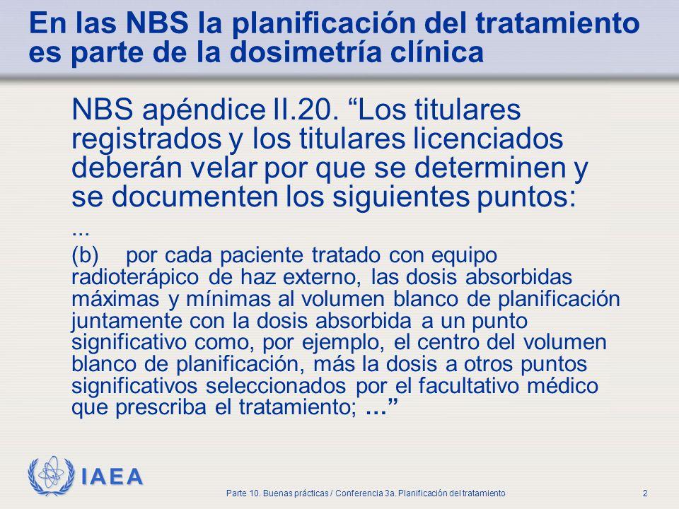 IAEA Parte 10. Buenas prácticas / Conferencia 3a. Planificación del tratamiento2 En las NBS la planificación del tratamiento es parte de la dosimetría