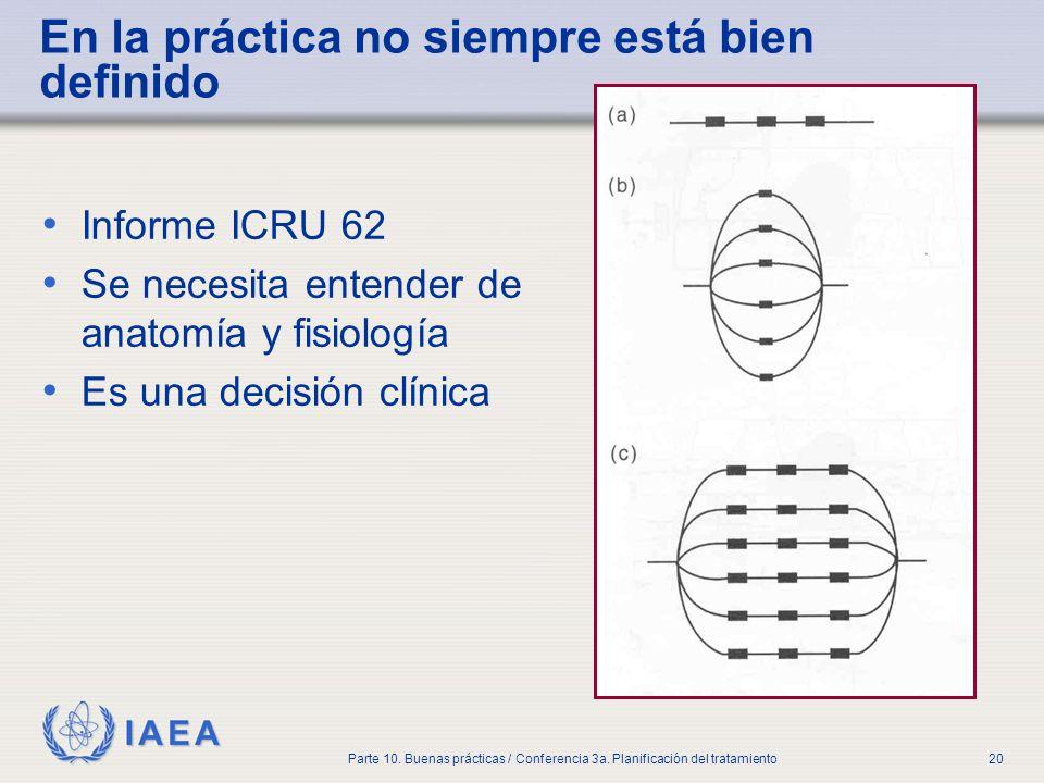 IAEA Parte 10. Buenas prácticas / Conferencia 3a. Planificación del tratamiento20 En la práctica no siempre está bien definido Informe ICRU 62 Se nece