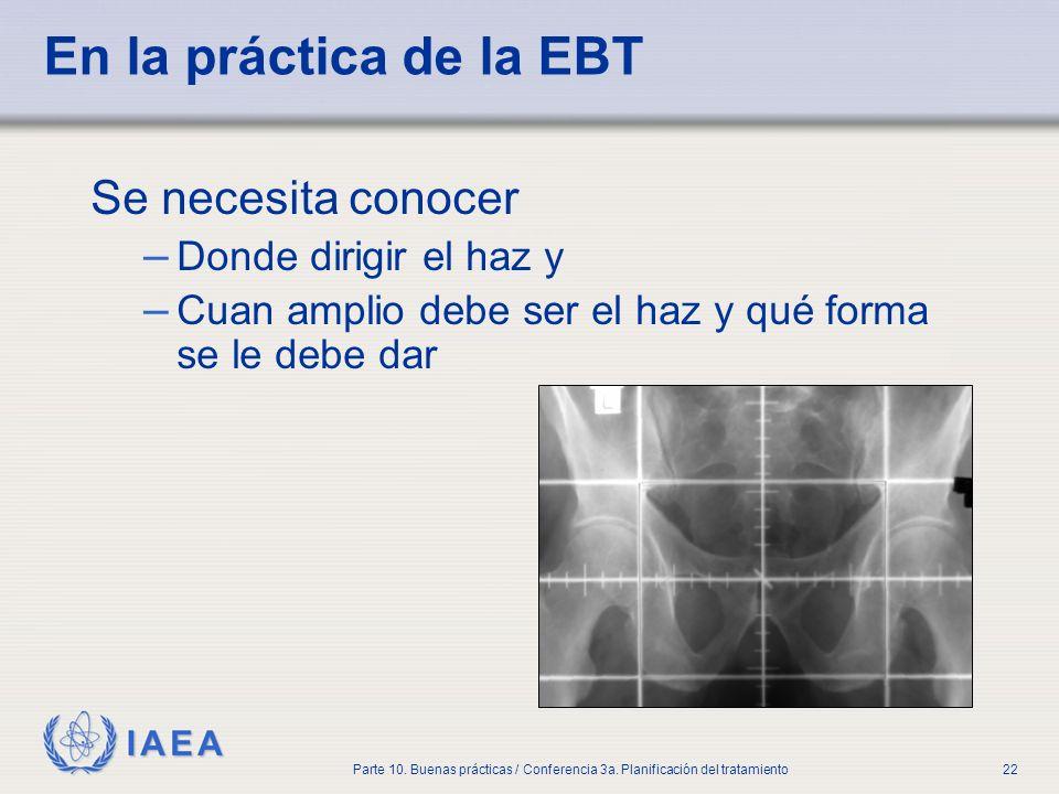 IAEA Parte 10. Buenas prácticas / Conferencia 3a. Planificación del tratamiento22 En la práctica de la EBT Se necesita conocer – Donde dirigir el haz