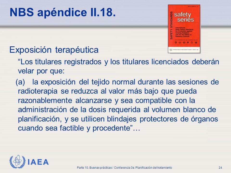 IAEA Parte 10. Buenas prácticas / Conferencia 3a. Planificación del tratamiento24 NBS apéndice II.18. Exposición terapéutica Los titulares registrados