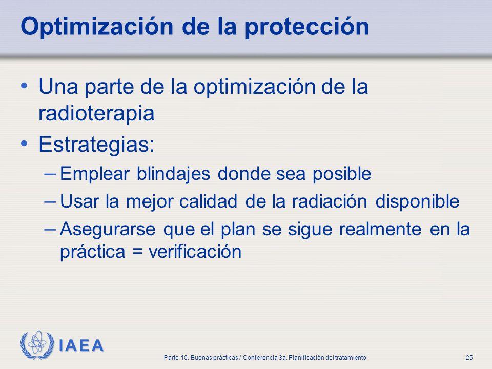 IAEA Parte 10. Buenas prácticas / Conferencia 3a. Planificación del tratamiento25 Optimización de la protección Una parte de la optimización de la rad