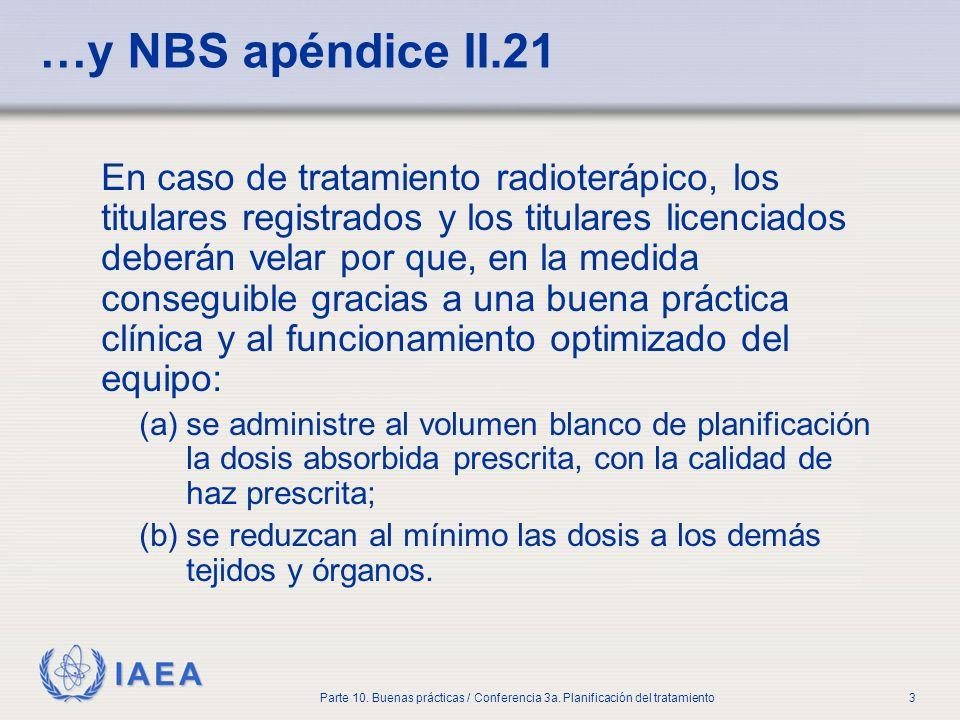 IAEA Parte 10. Buenas prácticas / Conferencia 3a. Planificación del tratamiento3 …y NBS apéndice II.21 En caso de tratamiento radioterápico, los titul