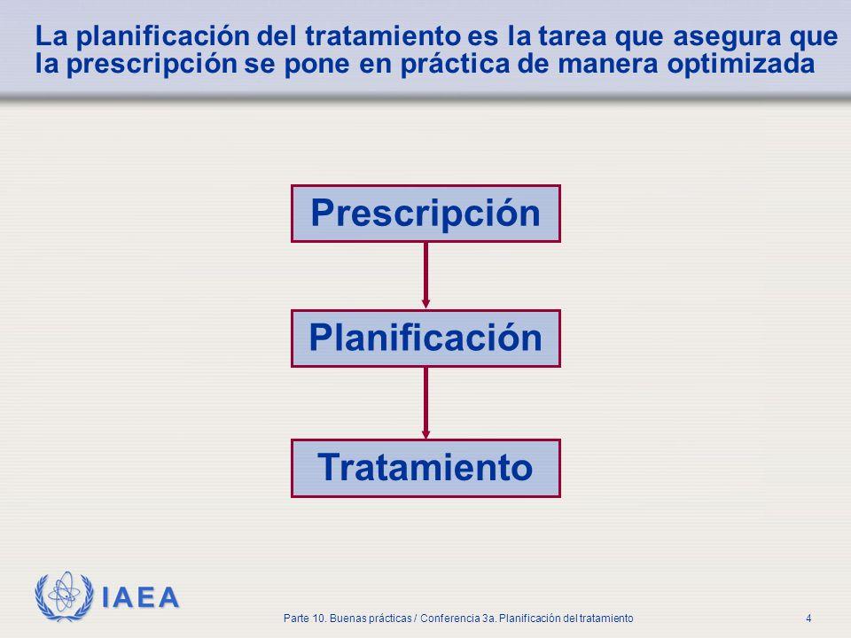 IAEA Parte 10. Buenas prácticas / Conferencia 3a. Planificación del tratamiento4 La planificación del tratamiento es la tarea que asegura que la presc