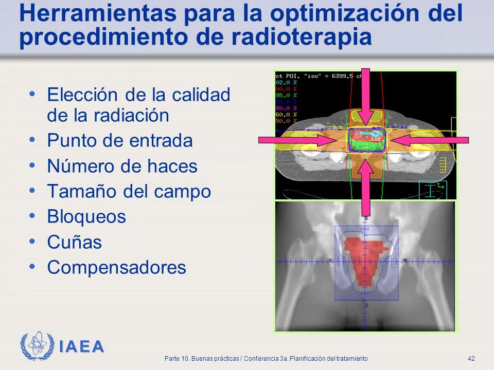 IAEA Parte 10. Buenas prácticas / Conferencia 3a. Planificación del tratamiento42 Herramientas para la optimización del procedimiento de radioterapia