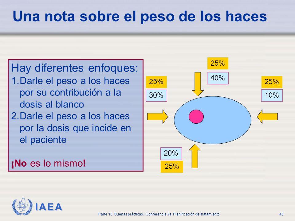 IAEA Parte 10. Buenas prácticas / Conferencia 3a. Planificación del tratamiento45 Una nota sobre el peso de los haces Hay diferentes enfoques: 1.Darle