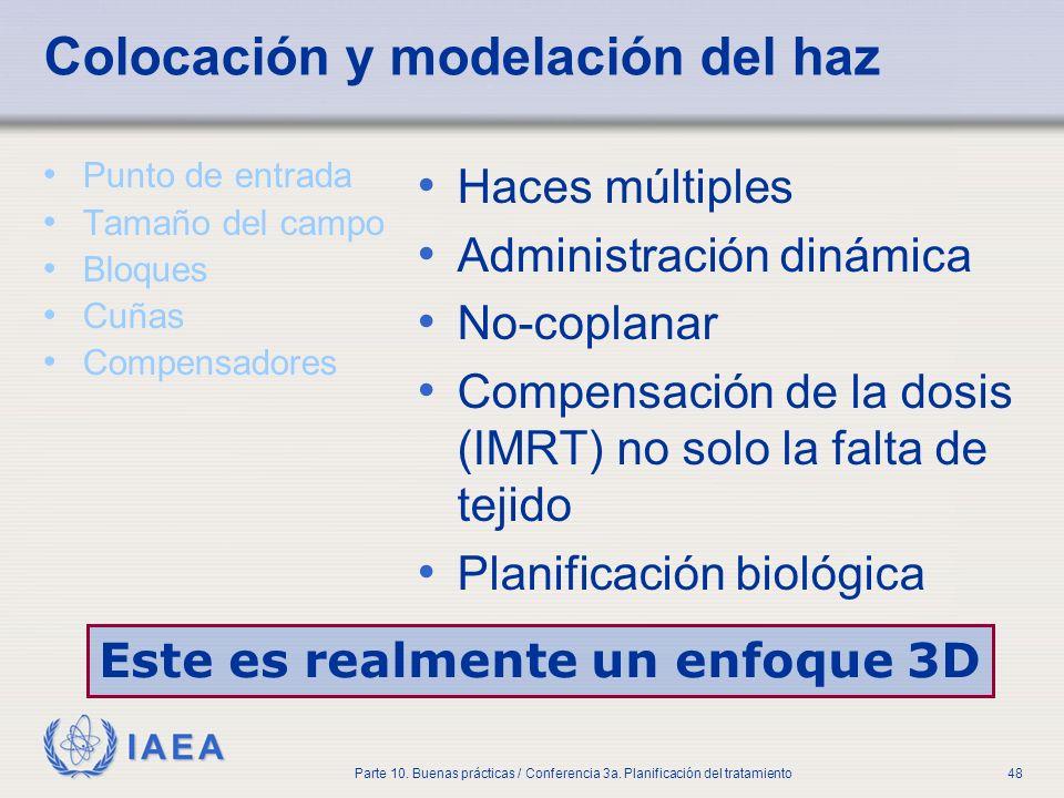 IAEA Parte 10. Buenas prácticas / Conferencia 3a. Planificación del tratamiento48 Colocación y modelación del haz Punto de entrada Tamaño del campo Bl