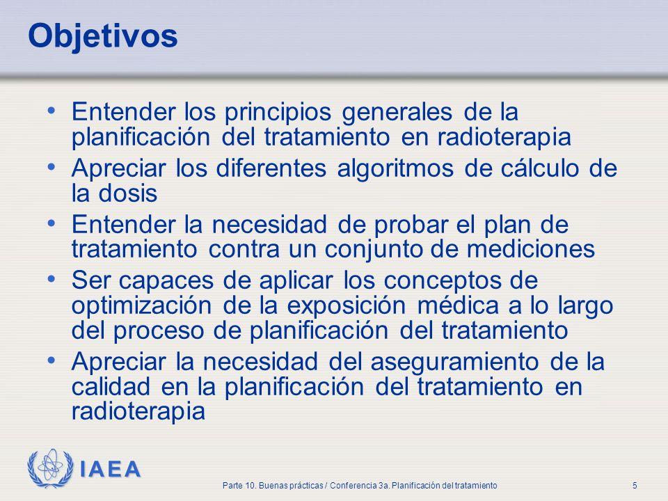 IAEA Parte 10. Buenas prácticas / Conferencia 3a. Planificación del tratamiento5 Objetivos Entender los principios generales de la planificación del t