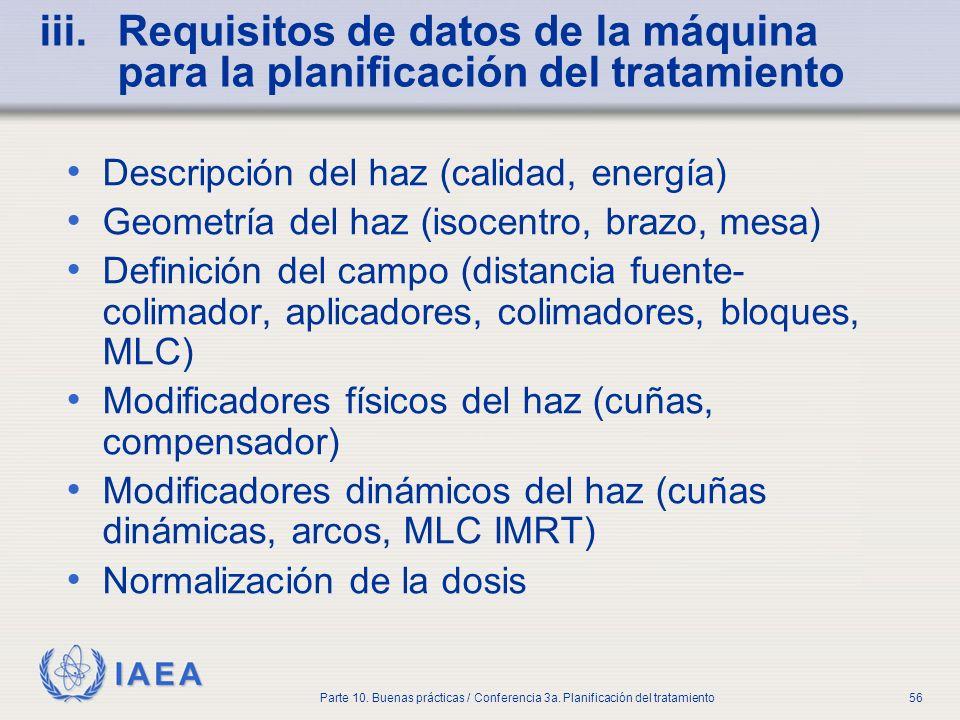 IAEA Parte 10. Buenas prácticas / Conferencia 3a. Planificación del tratamiento56 iii.Requisitos de datos de la máquina para la planificación del trat