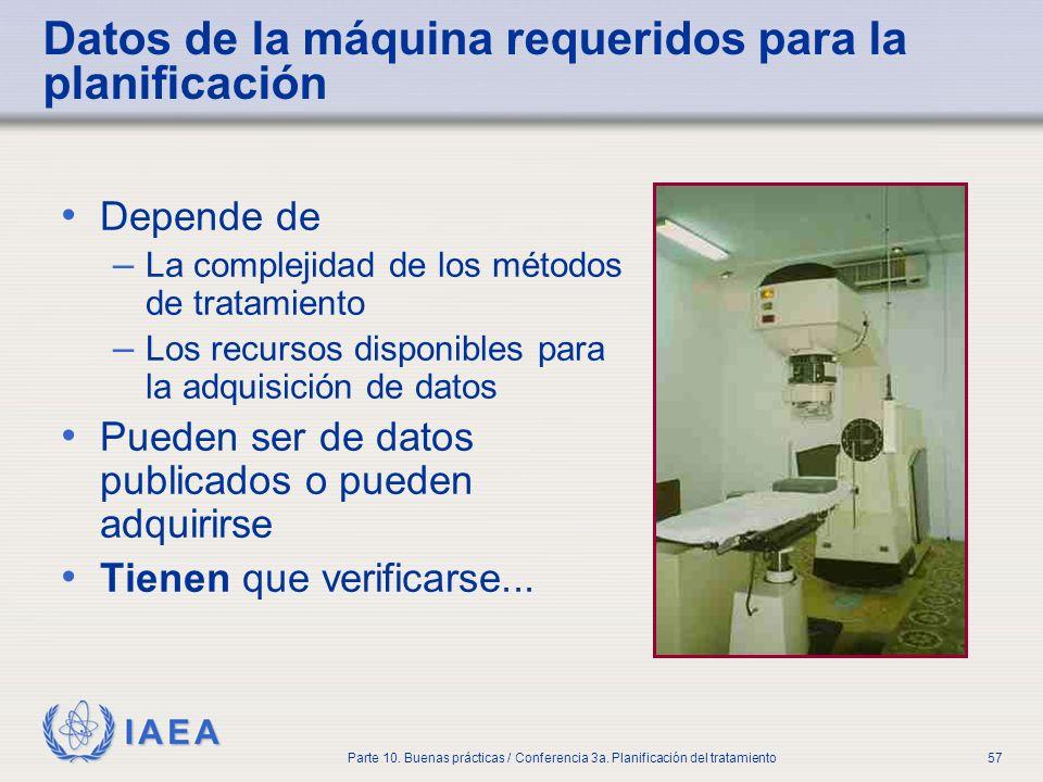 IAEA Parte 10. Buenas prácticas / Conferencia 3a. Planificación del tratamiento57 Datos de la máquina requeridos para la planificación Depende de – La