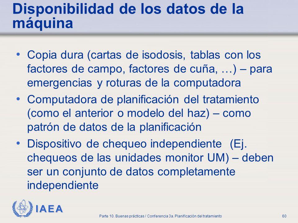 IAEA Parte 10. Buenas prácticas / Conferencia 3a. Planificación del tratamiento60 Disponibilidad de los datos de la máquina Copia dura (cartas de isod