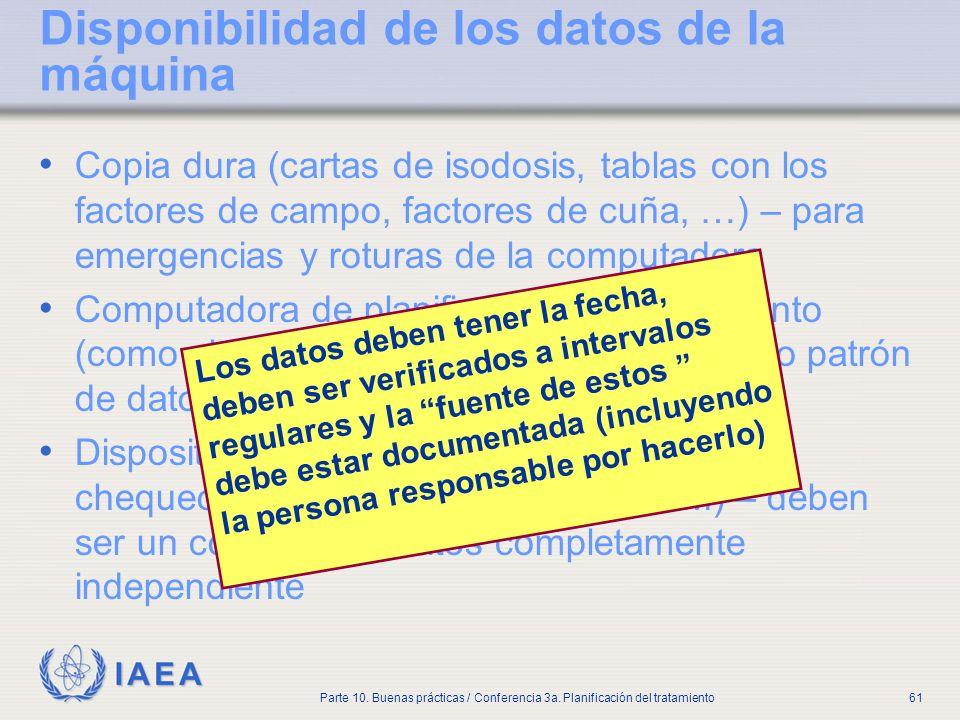 IAEA Parte 10. Buenas prácticas / Conferencia 3a. Planificación del tratamiento61 Disponibilidad de los datos de la máquina Copia dura (cartas de isod