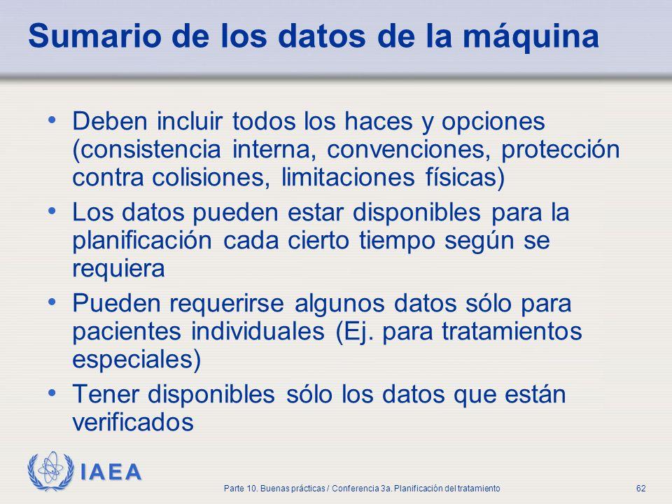 IAEA Parte 10. Buenas prácticas / Conferencia 3a. Planificación del tratamiento62 Sumario de los datos de la máquina Deben incluir todos los haces y o