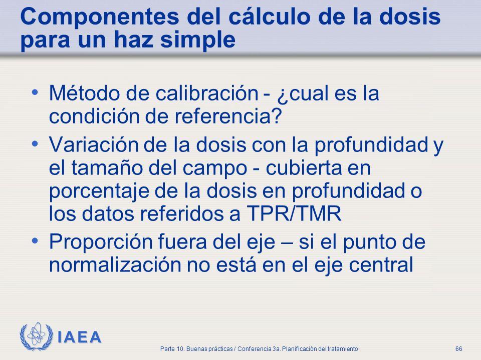 IAEA Parte 10. Buenas prácticas / Conferencia 3a. Planificación del tratamiento66 Componentes del cálculo de la dosis para un haz simple Método de cal