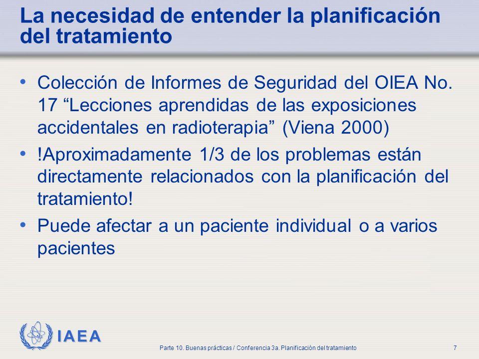 IAEA Parte 10. Buenas prácticas / Conferencia 3a. Planificación del tratamiento7 La necesidad de entender la planificación del tratamiento Colección d