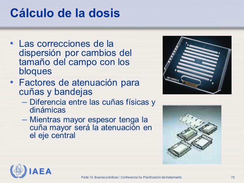 IAEA Parte 10. Buenas prácticas / Conferencia 3a. Planificación del tratamiento70 Cálculo de la dosis Las correcciones de la dispersión por cambios de
