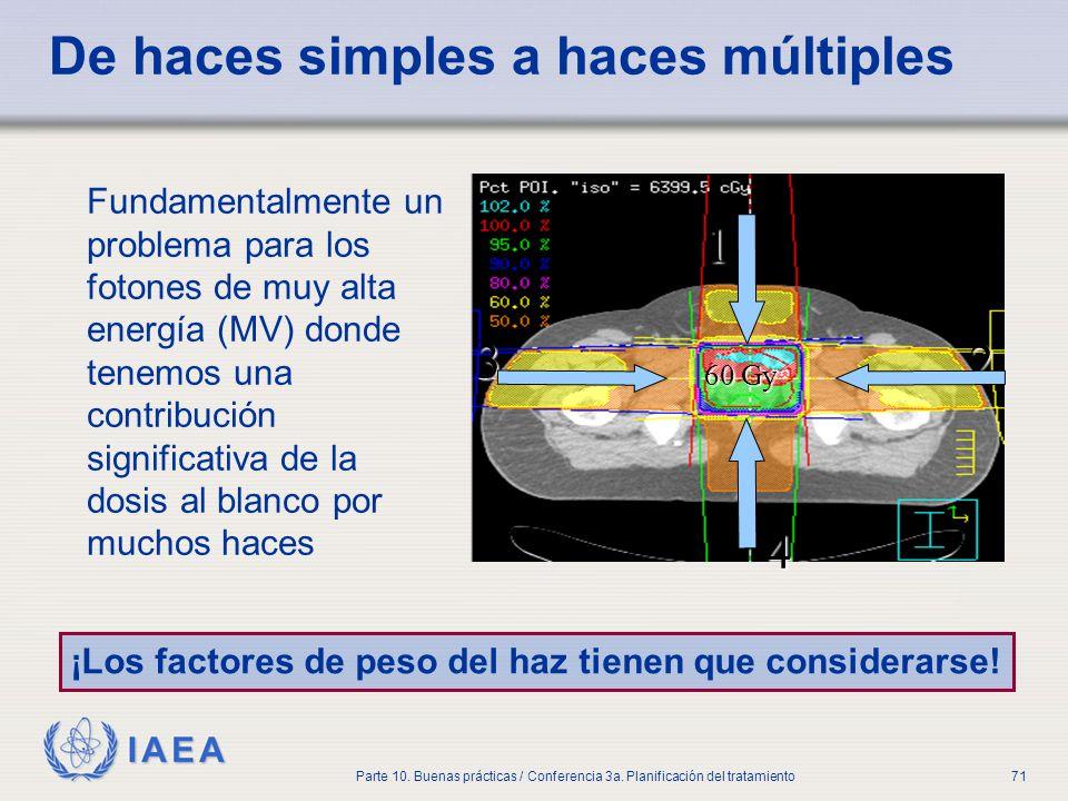 IAEA Parte 10. Buenas prácticas / Conferencia 3a. Planificación del tratamiento71 De haces simples a haces múltiples Fundamentalmente un problema para