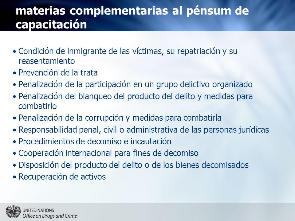 materias complementarias al pénsum de capacitación Condición de inmigrante de las víctimas, su repatriación y su reasentamiento Prevención de la trata
