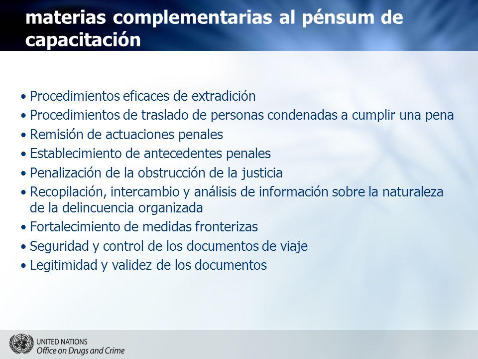 materias complementarias al pénsum de capacitación Procedimientos eficaces de extradición Procedimientos de traslado de personas condenadas a cumplir
