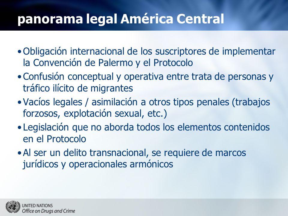 panorama legal América Central Obligación internacional de los suscriptores de implementar la Convención de Palermo y el Protocolo Confusión conceptua