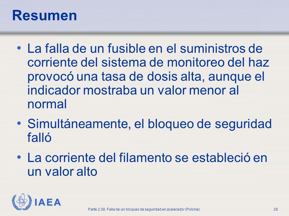 IAEA Parte 2.08. Falla de un bloqueo de seguridad en acelerador (Polonia)29 Resumen La falla de un fusible en el suministros de corriente del sistema