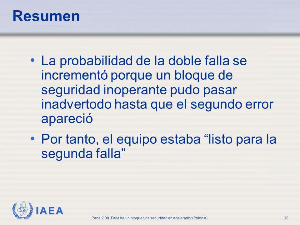 IAEA Parte 2.08. Falla de un bloqueo de seguridad en acelerador (Polonia)30 Resumen La probabilidad de la doble falla se incrementó porque un bloque d