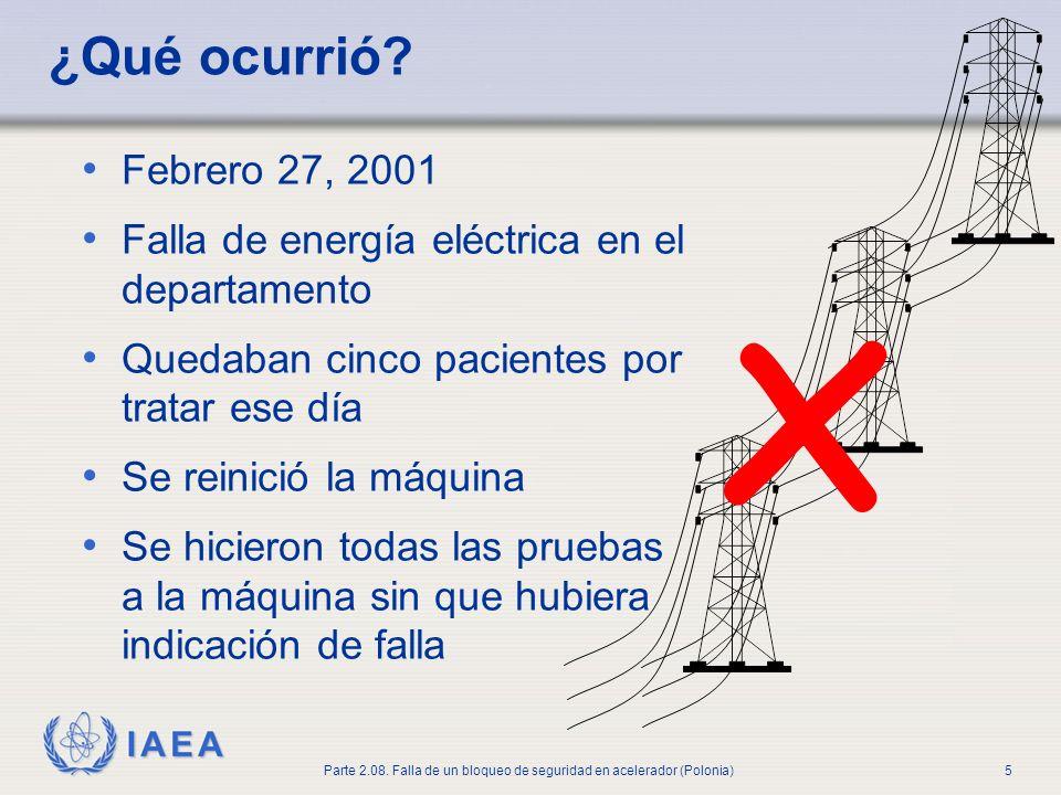 IAEA Parte 2.08. Falla de un bloqueo de seguridad en acelerador (Polonia)5 ¿Qué ocurrió? Febrero 27, 2001 Falla de energía eléctrica en el departament