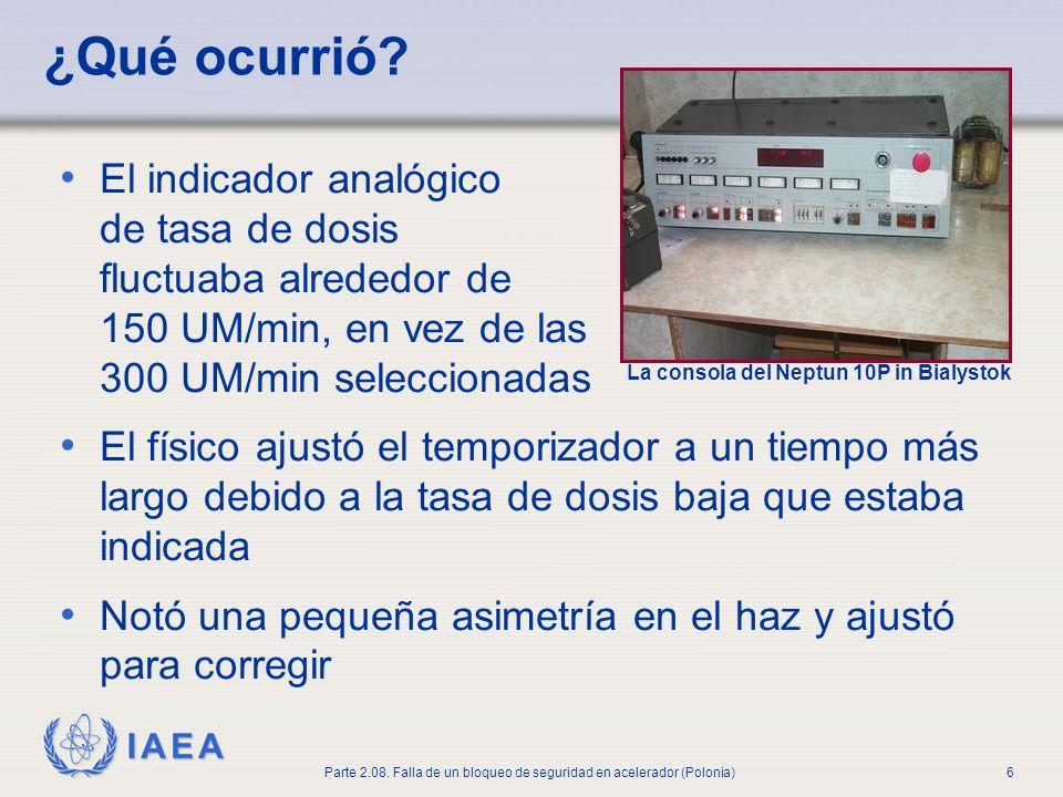 IAEA Parte 2.08. Falla de un bloqueo de seguridad en acelerador (Polonia)6 ¿Qué ocurrió? El indicador analógico de tasa de dosis fluctuaba alrededor d