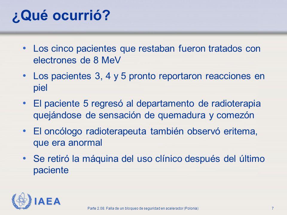 IAEA Parte 2.08. Falla de un bloqueo de seguridad en acelerador (Polonia)7 ¿Qué ocurrió? Los cinco pacientes que restaban fueron tratados con electron
