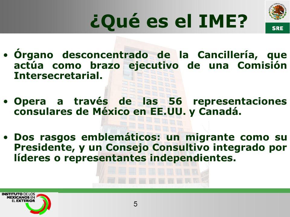 ¿Qué es el IME? Órgano desconcentrado de la Cancillería, que actúa como brazo ejecutivo de una Comisión Intersecretarial. Opera a través de las 56 rep