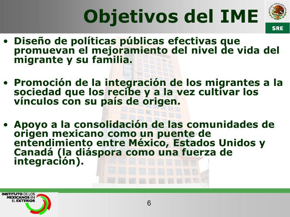 Objetivos del IME Diseño de políticas públicas efectivas que promuevan el mejoramiento del nivel de vida del migrante y su familia. Promoción de la in