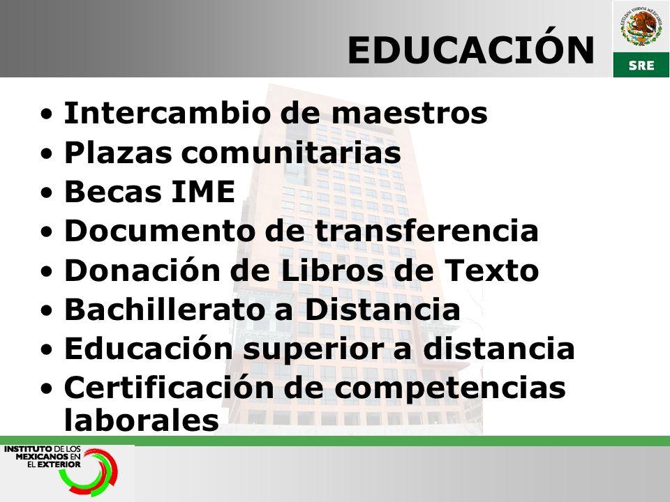 EDUCACIÓN Intercambio de maestros Plazas comunitarias Becas IME Documento de transferencia Donación de Libros de Texto Bachillerato a Distancia Educac