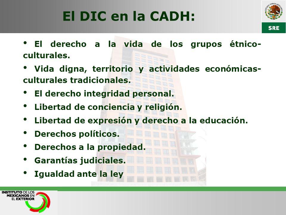 El DIC en la CADH: El derecho a la vida de los grupos étnico- culturales. Vida digna, territorio y actividades económicas- culturales tradicionales. E
