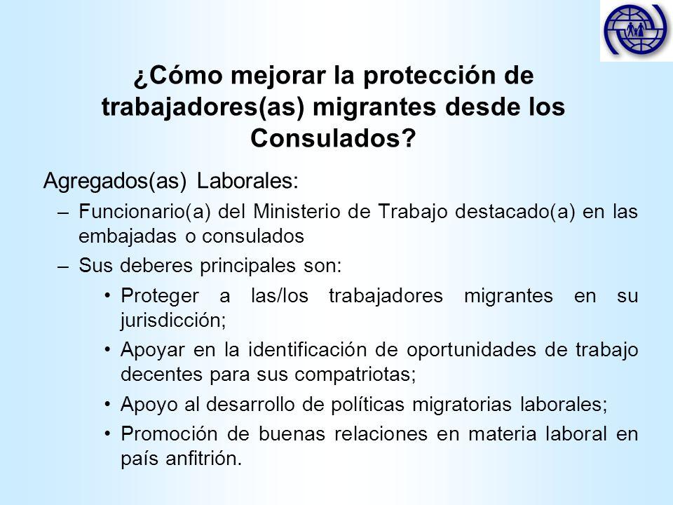 ¿Cómo mejorar la protección de trabajadores(as) migrantes desde los Consulados? Agregados(as) Laborales: –Funcionario(a) del Ministerio de Trabajo des