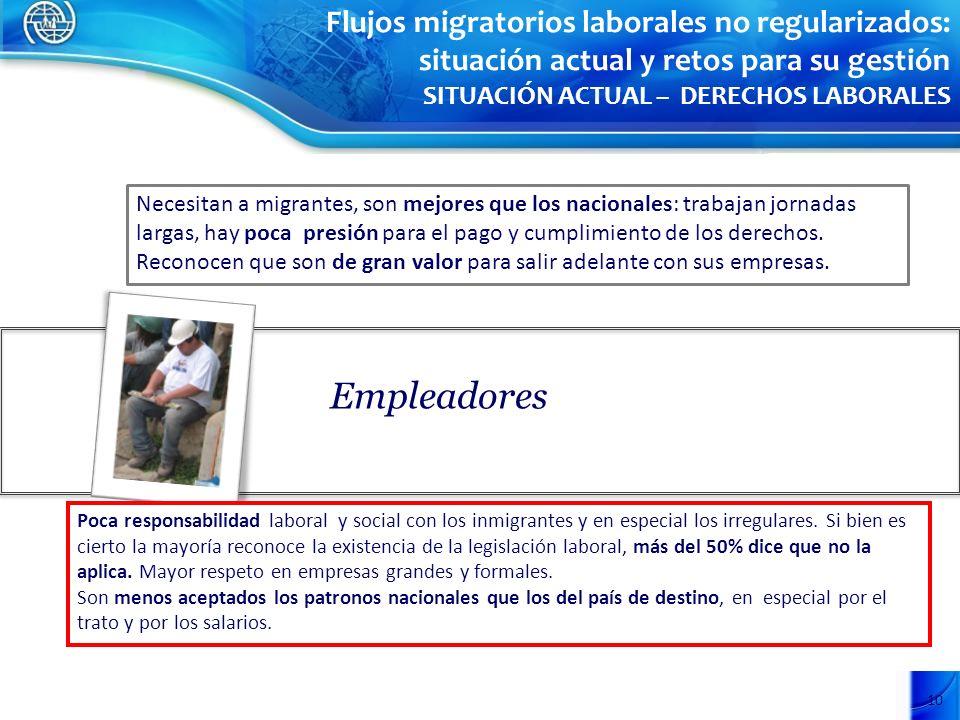 10 Empleadores Poca responsabilidad laboral y social con los inmigrantes y en especial los irregulares. Si bien es cierto la mayoría reconoce la exist
