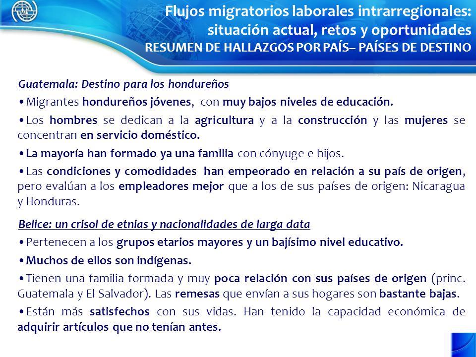 Guatemala: Destino para los hondureños Migrantes hondureños jóvenes, con muy bajos niveles de educación. Los hombres se dedican a la agricultura y a l