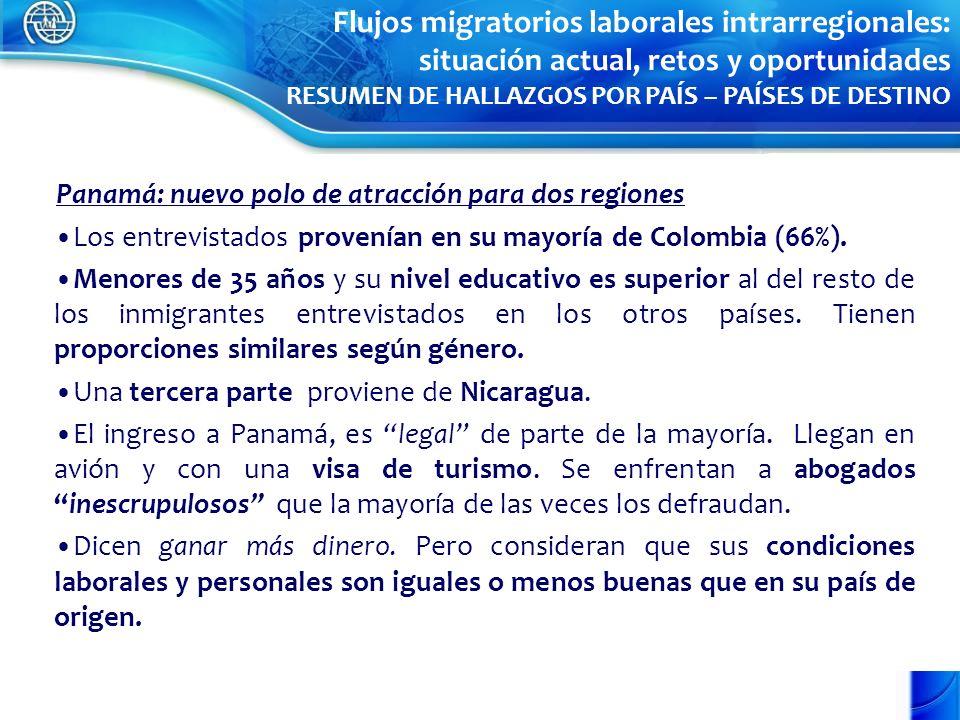 Panamá: nuevo polo de atracción para dos regiones Los entrevistados provenían en su mayoría de Colombia (66%). Menores de 35 años y su nivel educativo
