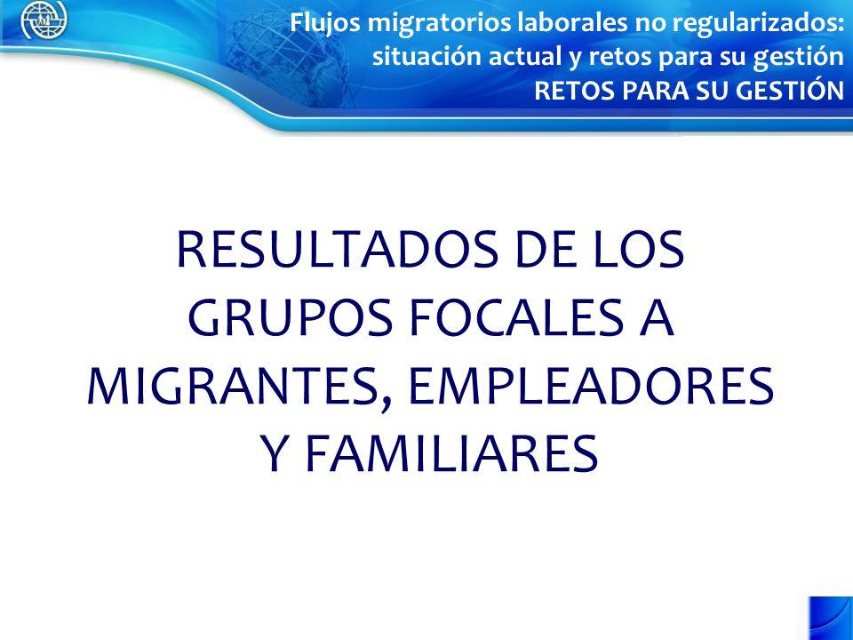RESULTADOS DE LOS GRUPOS FOCALES A MIGRANTES, EMPLEADORES Y FAMILIARES Flujos migratorios laborales no regularizados: situación actual y retos para su gestión RETOS PARA SU GESTIÓN
