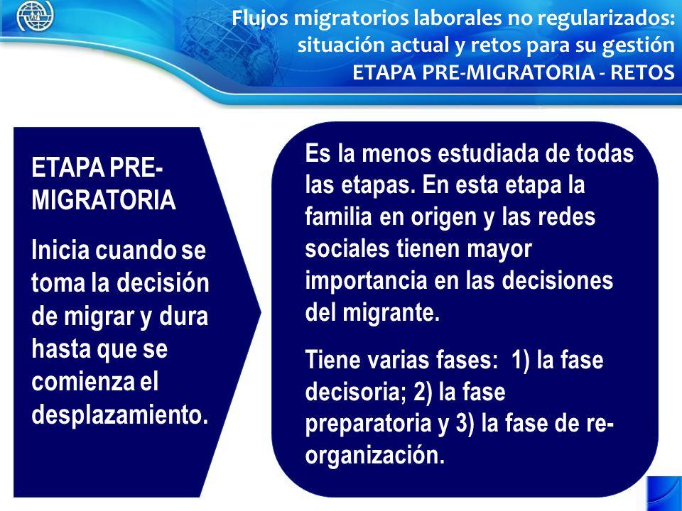 ETAPA PRE- MIGRATORIA Inicia cuando se toma la decisión de migrar y dura hasta que se comienza el desplazamiento. Es la menos estudiada de todas las e