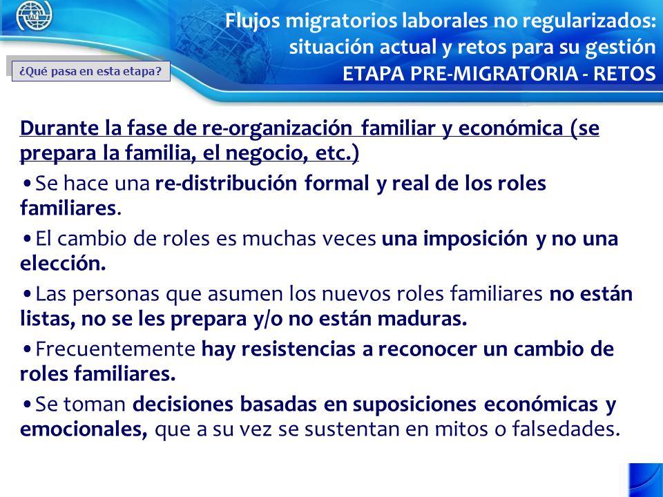 Durante la fase de re-organización familiar y económica (se prepara la familia, el negocio, etc.) Se hace una re-distribución formal y real de los rol