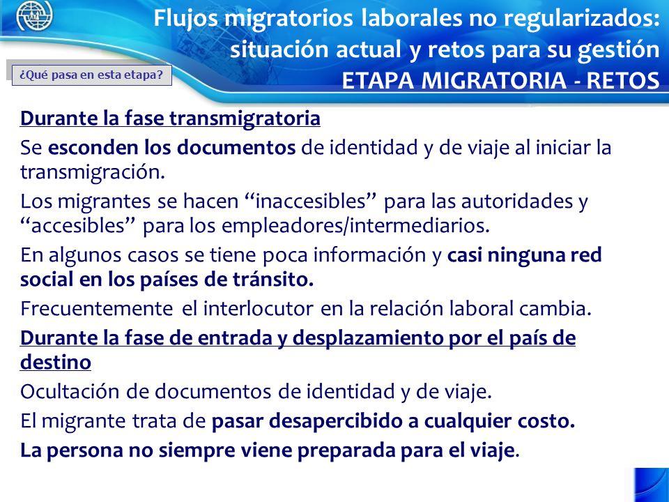 Durante la fase transmigratoria Se esconden los documentos de identidad y de viaje al iniciar la transmigración. Los migrantes se hacen inaccesibles p