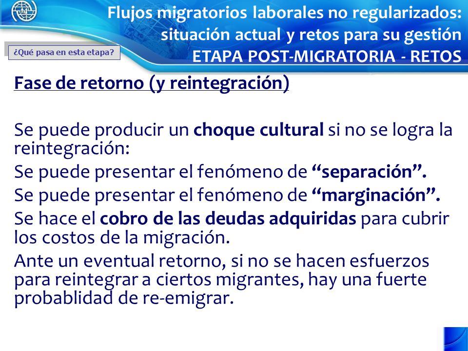 Fase de retorno (y reintegración) Se puede producir un choque cultural si no se logra la reintegración: Se puede presentar el fenómeno de separación.