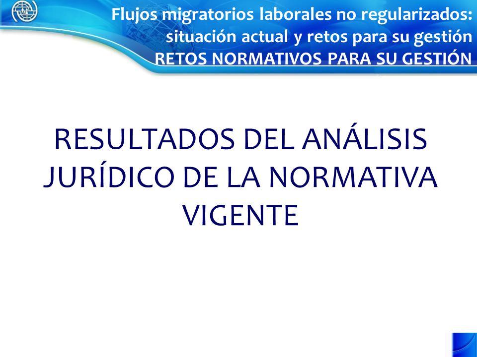RESULTADOS DEL ANÁLISIS JURÍDICO DE LA NORMATIVA VIGENTE Flujos migratorios laborales no regularizados: situación actual y retos para su gestión RETOS NORMATIVOS PARA SU GESTIÓN